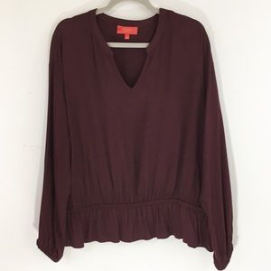 Jennifer Lopez XL Long Sleeve Blouse Plum NWT